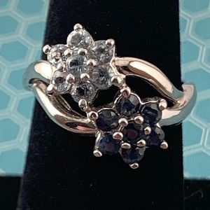 Blue Topaz and Sapphire Flower Ring